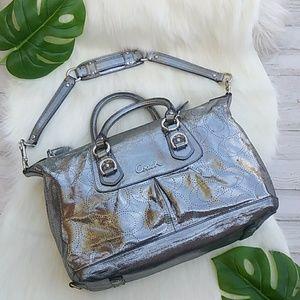 COACH Ashley Metallic Silver Shoulder Bag # 17130